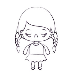 Blurred thin silhouette of kawaii little girl with vector