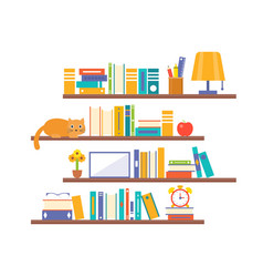 book shelf background with elements such as lamp vector image