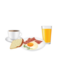 breakfast set plate with coffee and juice vector image