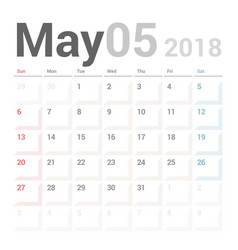 calendar planner may 2018 week starts sunday vector image