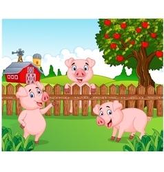 Cartoon adorable baby pig on the farm vector