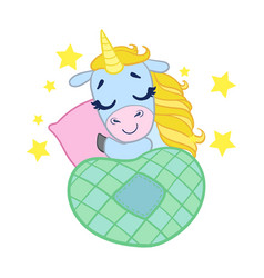 Cartoon light blue lovely sleeping unicorn vector