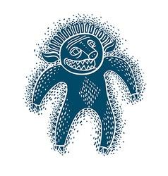 Character monster flat blue mutant devil vector