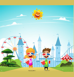 Children at the amusement park vector