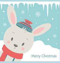 christmas card with rabbit vector image