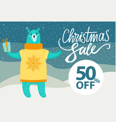 christmas sale -50 off on vector image