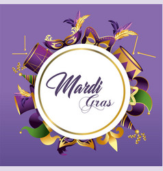 circle merdi gras emblem with masks and hats vector image
