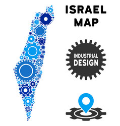 collage israel map of gears vector image