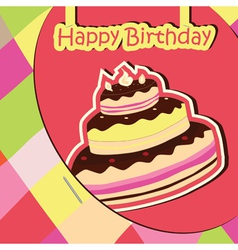 colorful birthday card with cake vector image