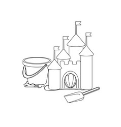 Coloring book cartoon sand castle vector