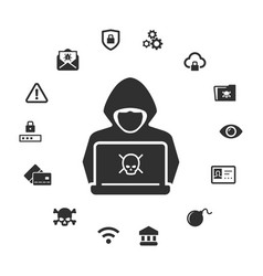 Computer hacker icon anonymous man with mask on vector