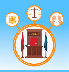 court system symbols flat banner template vector image