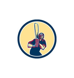 Cricket Player Batsman Circle Retro vector