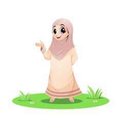 Cute muslim girl standing and presenting vector
