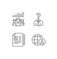 Cv head hunting and teamwork line icons vector