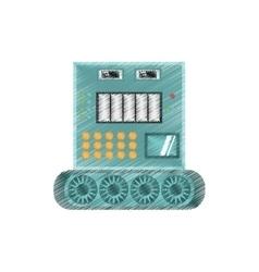 Drawing robotic operator machine technology vector