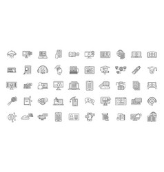 e-learning training icons set outline style vector image