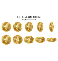 Ethereum coin 3d gold coins set realistic vector