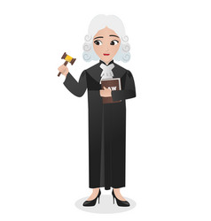 Female judge holding gavel and book of law vector