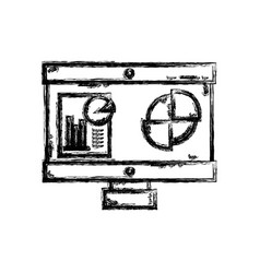 figure computer with company document and vector image