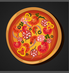 flat hot pizza icons isolated on white pepperoni vector image