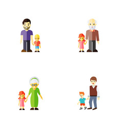 Flat icon relatives set of boys son grandpa vector