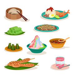 Flat set of different malaysian dishes vector