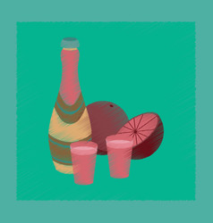 Flat shading style icon champagne oranges vector