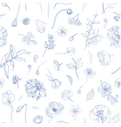 Floral seamless pattern with scattered blooming vector