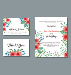 flowers and leafs invitation card vector image