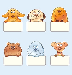 Funny dogs holding blank boards vector image