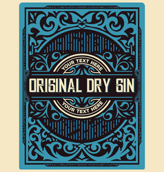 gin label with floral ornaments vector image