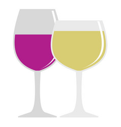 glasses with red and white wine icon isolated vector image
