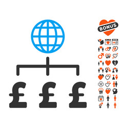 Global pound payments icon with love bonus vector
