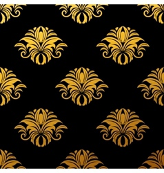 Golden floral seamless pattern vector image