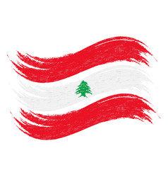Grunge brush stroke with national flag of lebanon vector