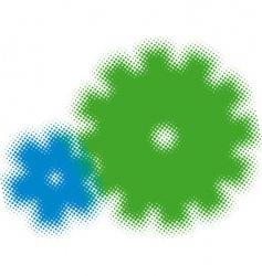 half tone cogs vector image