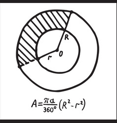 Hand drawn sector of annulus area sketch for vector