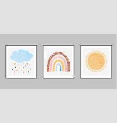 hand drawn set with rainbow sun vector image