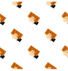Hand holding a brick pattern seamless vector