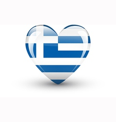 Heart-shaped icon with national flag of Greece vector