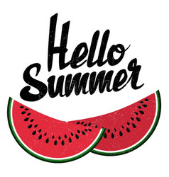Hello summer sign and bright watermelon isolated vector