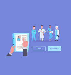 hr manager hand hold cv resume of female doctor vector image