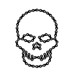 Human skull made bike or bicycle chain cranium vector