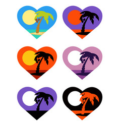 icons set tropical emblems in heart vector image