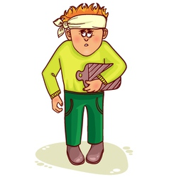 Ill little man with stomach issues and headache vector