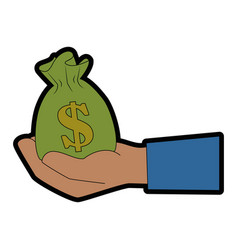 isolated hand money bag vector image