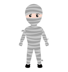 Kid with a mummy costume icon halloween vector