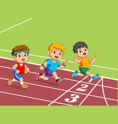 Kids running on track stadium vector