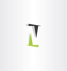 letter logo n icon green black symbol vector image